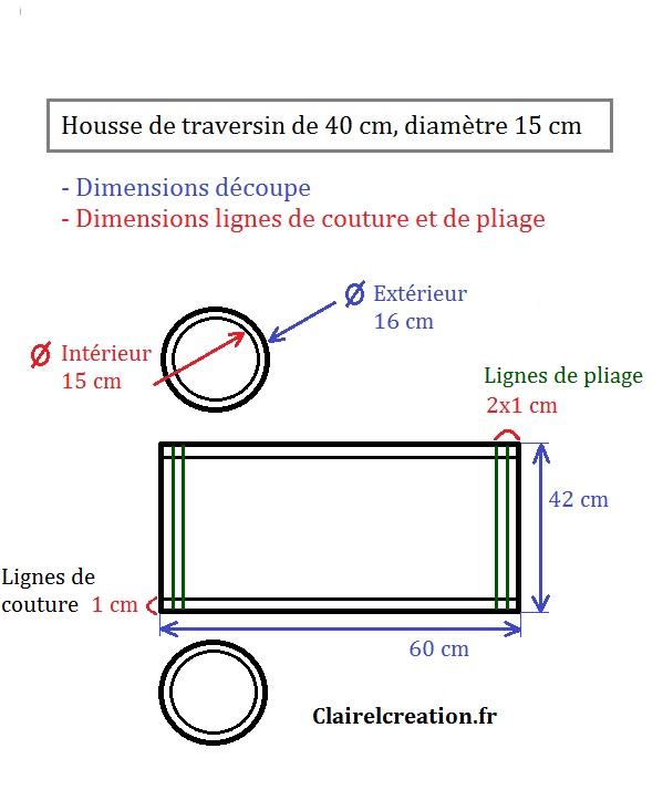 Schéma de traçage et dimensions de ma housse de traversin