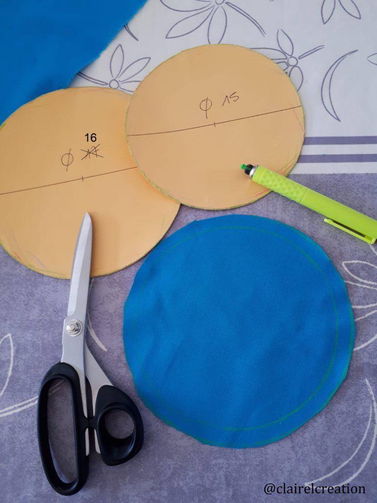 Gabarits diamètres 15 et 16 cm pour la découpe des 2 ronds