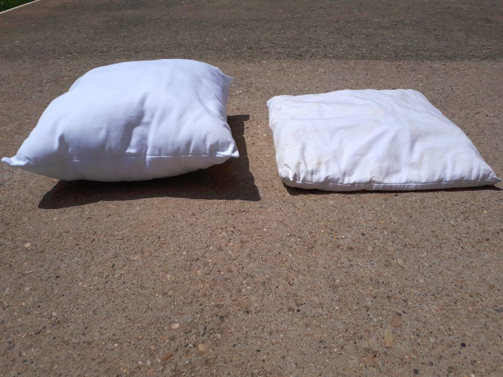 Après lavage Fibre synthétique à gauche vs coton bio à droite
