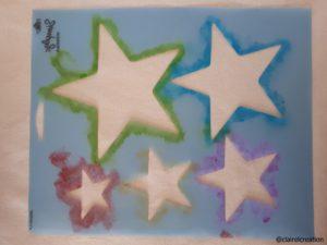 Pochoir étoiles (après sa première utilisation)