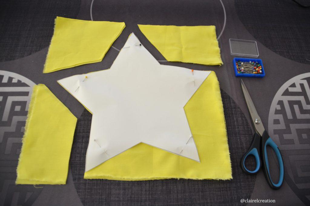 Découpe des 2 coupons de tissus étoile