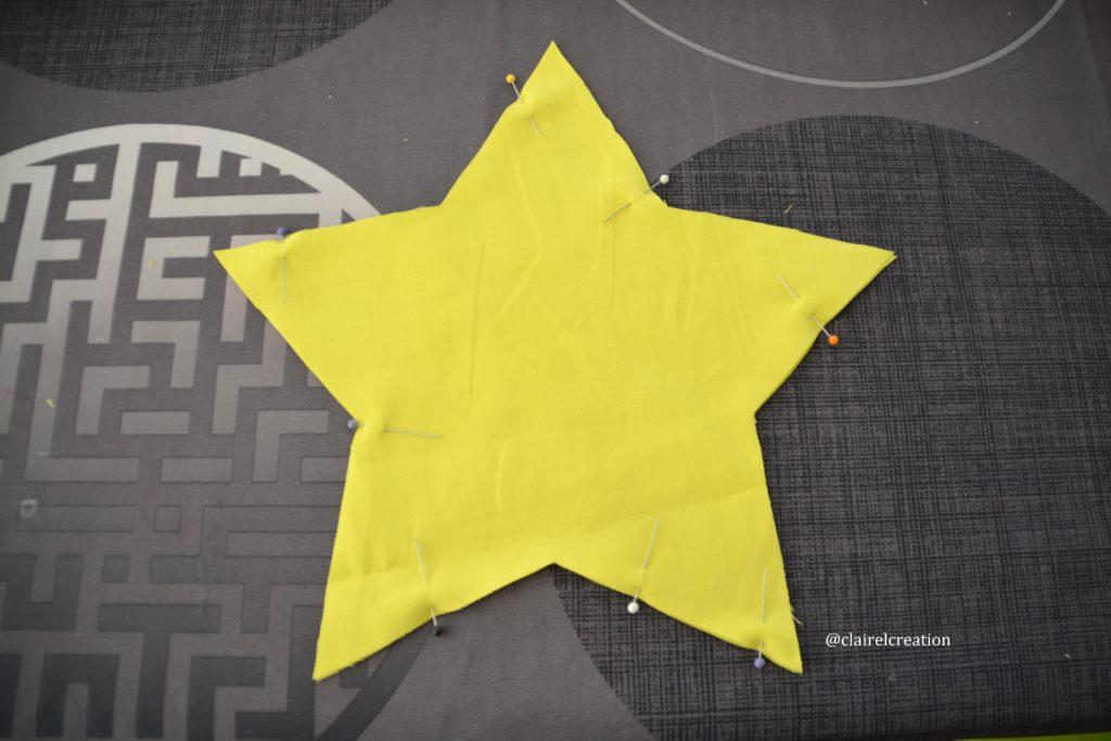 Pose des épingles avant assemblage de l'étoile