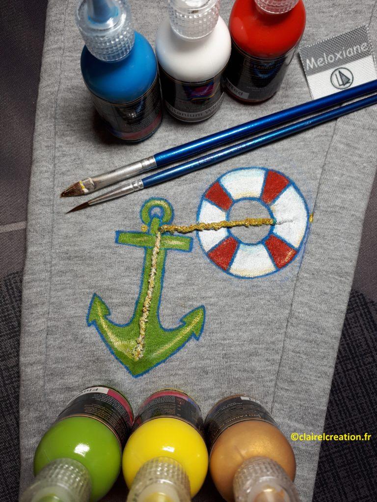 Dessin et peinture du pantalon terminés