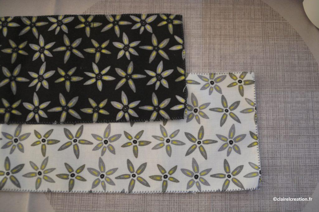 Les bandes de tissu de mes deux chouchous sont surfilées sur les 4 côtés