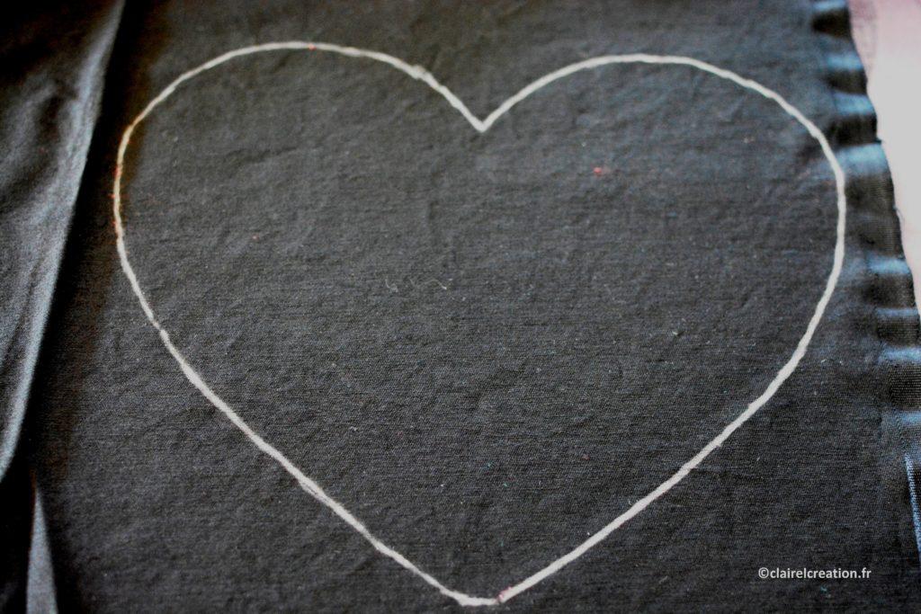 Traçage du deuxième coupon de tissu en forme de coeur