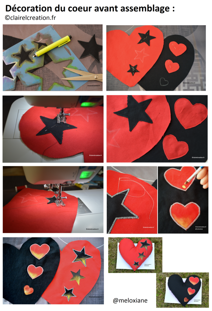 Décoration de mon coeur avant assemblage : appliqués et peinture