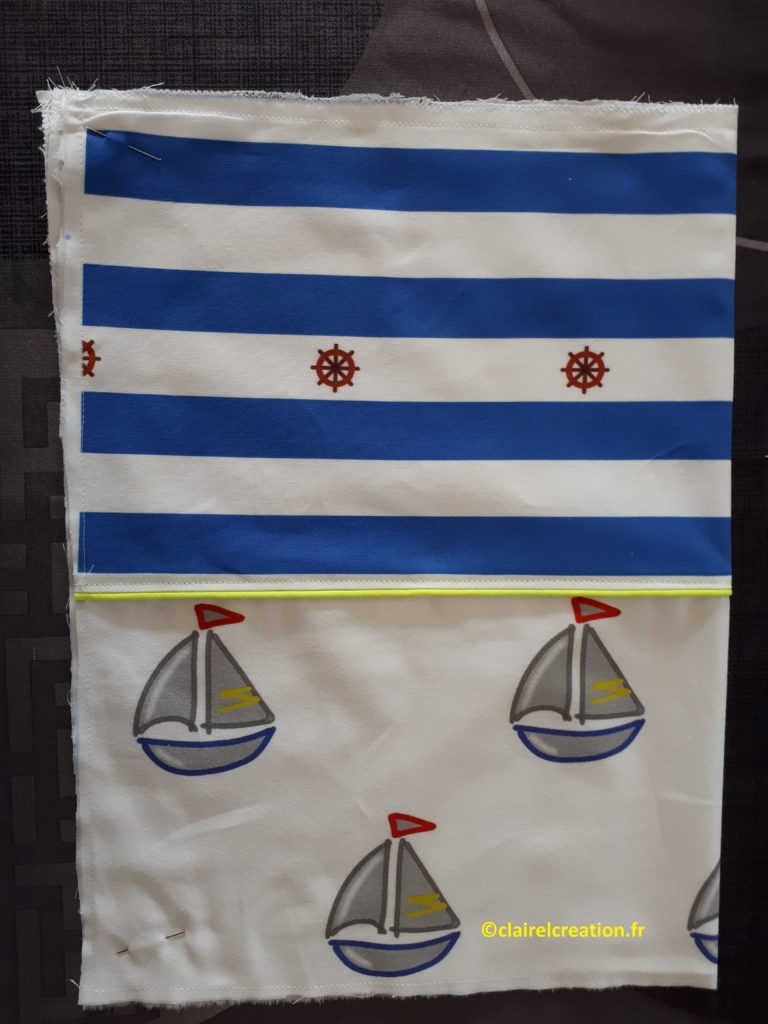 Sac pochon : couture en bas de la droite vers la gauche, puis en remontant jusqu'à la marque à 6 cm du haut.