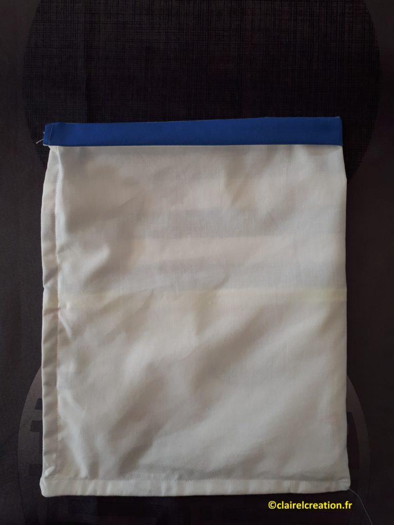 Sac pochon : passage du cordon, deuxième pliage