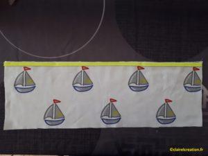 Sac pochon : bords du passepoil vers le bord du tissu.