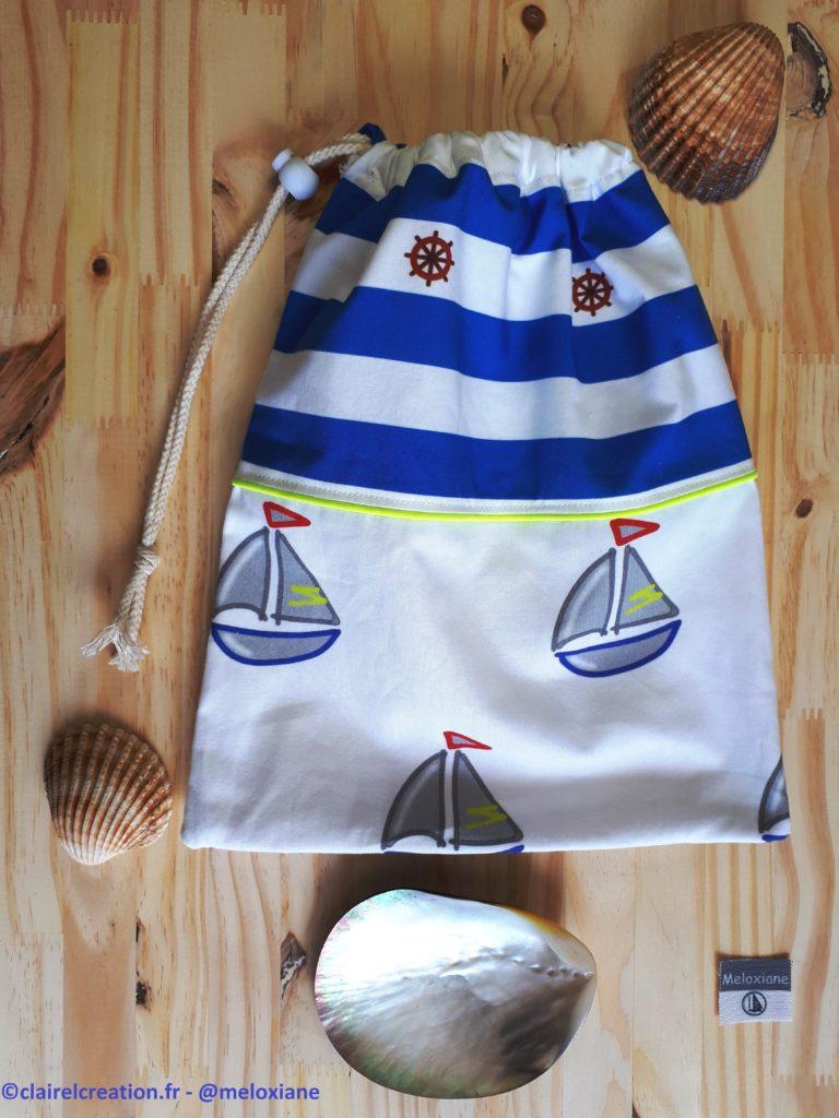 Faire un sac pochon thème marin par @meloxiane à voir sur www.clairelcreation.fr