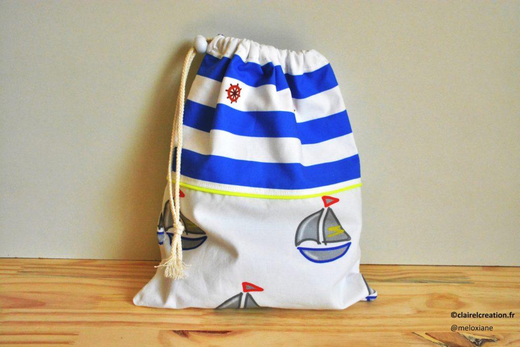 Coudre un sac pochon avec doublure, passepoil et couture anglaise