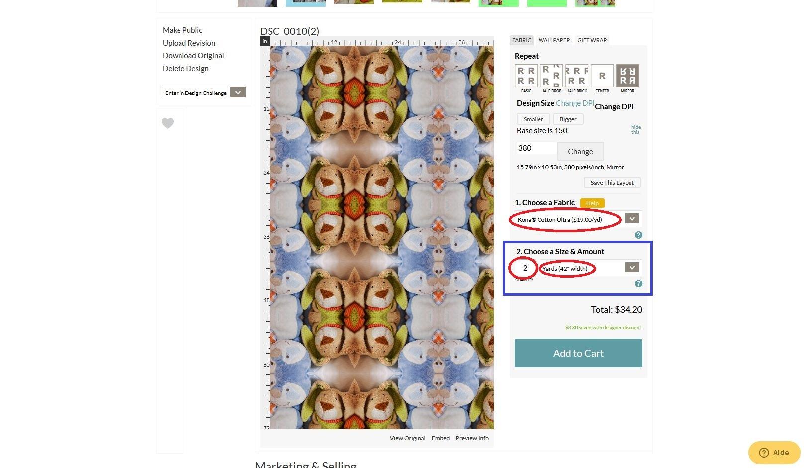 Dimension du coupon selon le type de tissu 2