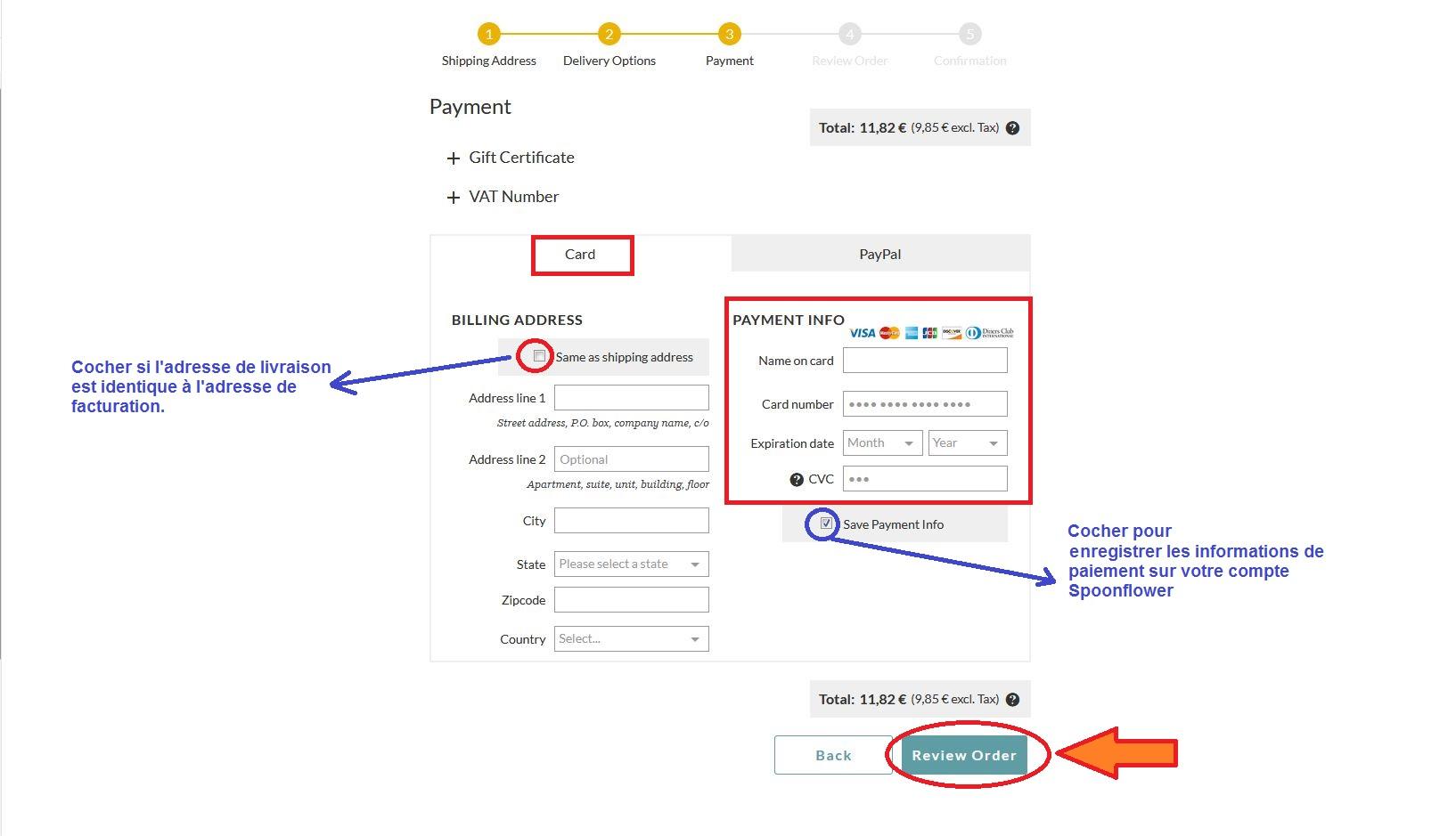 Options de paiement : carte de paiement
