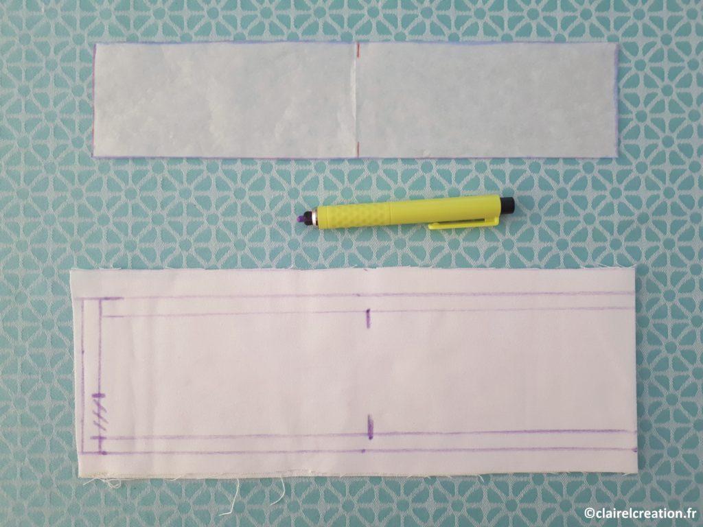 Tracer la marge de couture à 1 cm, reporter les 2 marques du milieu, puis tracer le passage de la ceinture (zone hachurée)