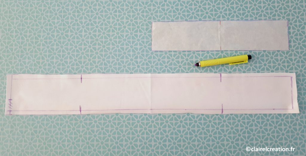 tracer la deuxième partie de la ceinture en reportant les deux marques du milieu