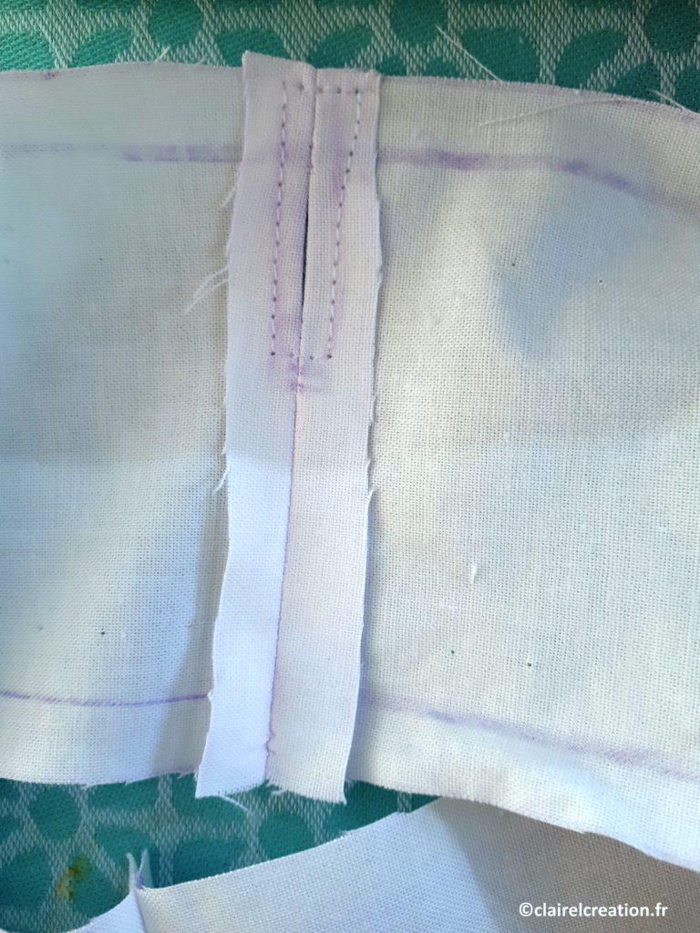 Ligne de couture en forme de rectangle, autour de l'ouverture