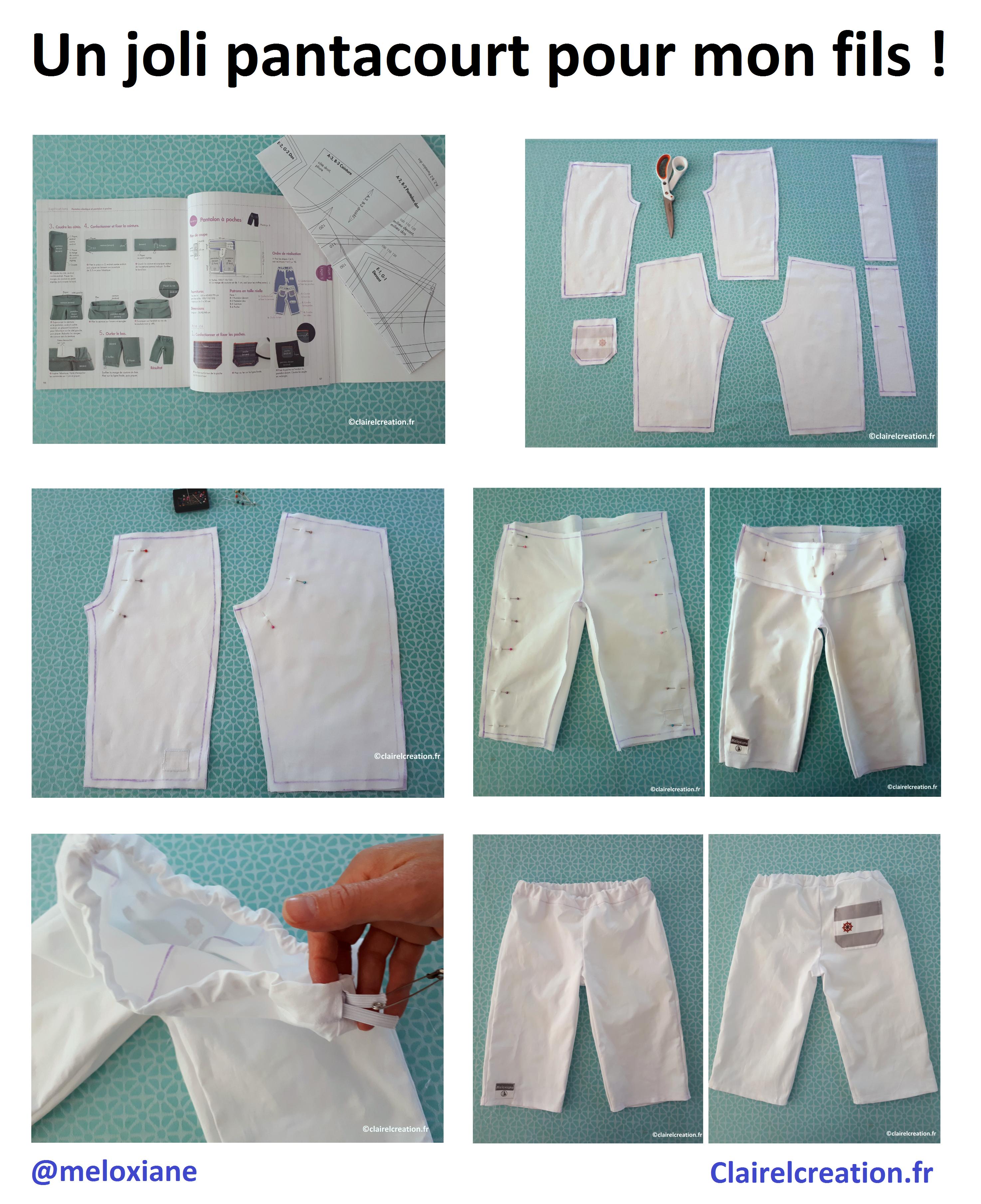 """Comment j'ai cousu un joli pantacourt pour mon fils : avec le livre """"Les bases de la couture à la machine"""" de Kyoko Sakauchi"""
