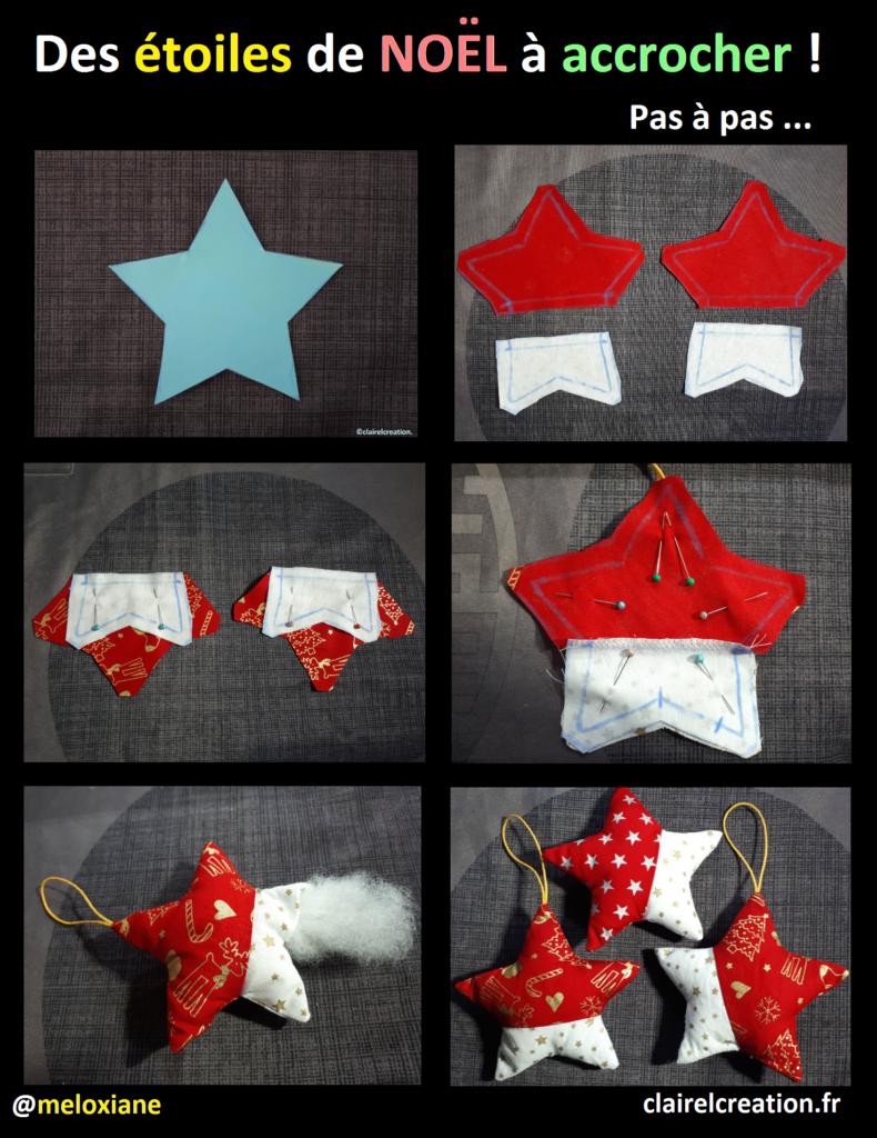 Voici comment, en 8 étapes, j'ai cousu de jolies petites étoiles bicolores à accrocher sur le sapin de Noël !