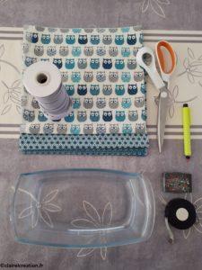 Couvercle en tissu : préparation du matériel
