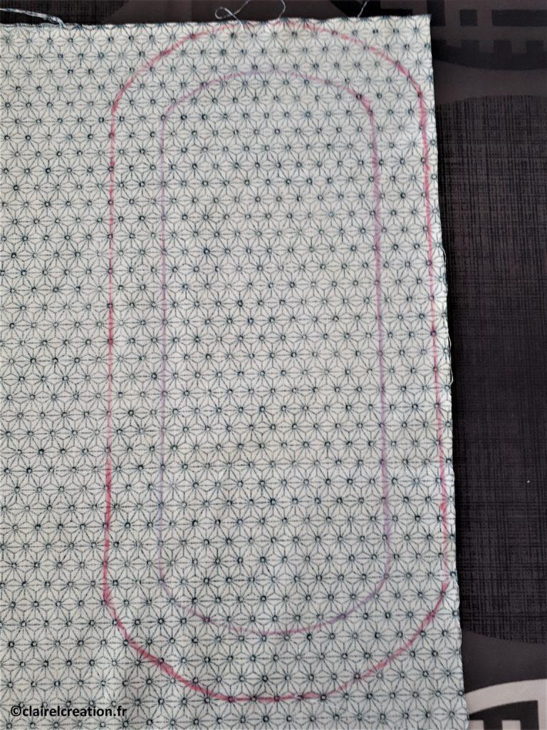 Couvercle en tissu : traçage du plat et ligne de coupe