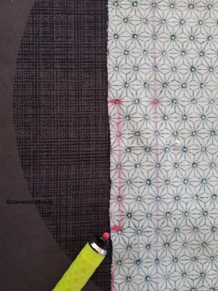 Couvercle en tissu : traçage de l'ouverture vue de près