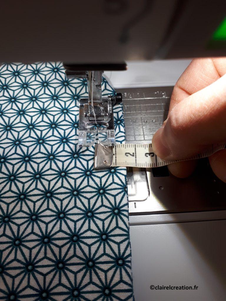 Couvercle en tissu : deuxième ligne de couture, au point droit, à 1,5 cm du bord de l'assemblage tout autour (tour complet)