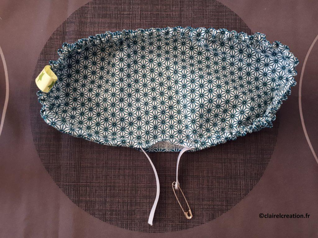 Couvercle en tissu : enfiler l'élastique de manière à faire sortir les deux extémités par l'ouverture