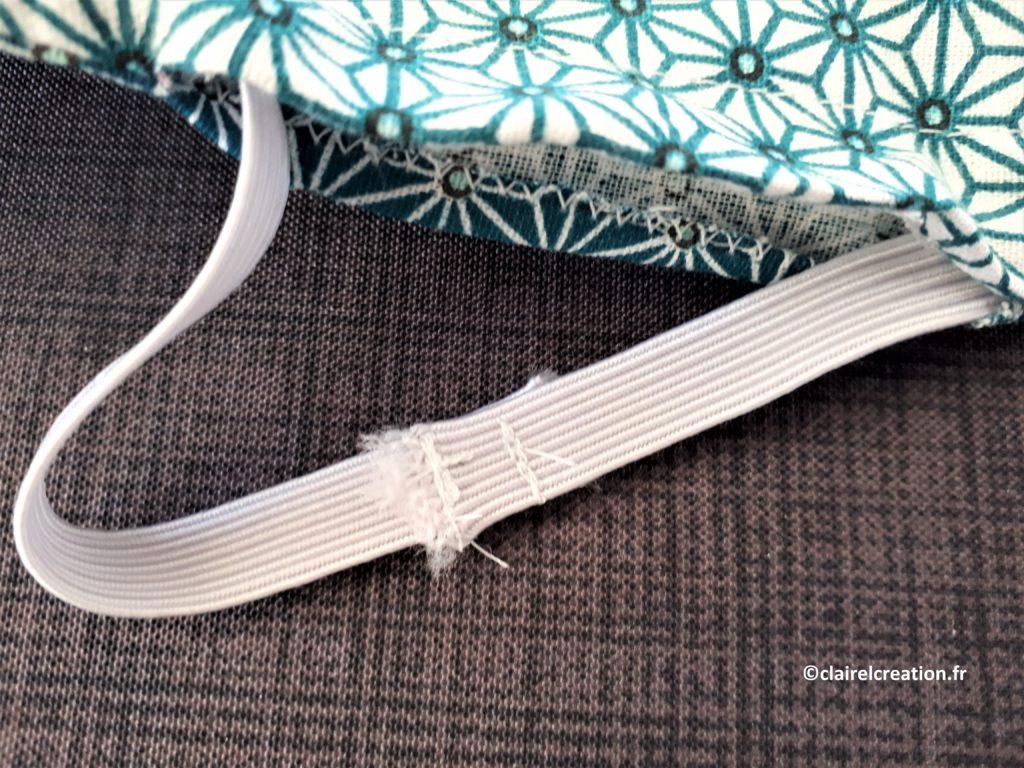 Couvercle en tissu : assemblage des extrémités de l'élastique