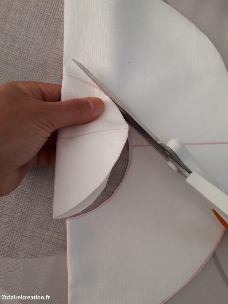 Découpe des pièces de tissus de la bouée (cercle intérieur)
