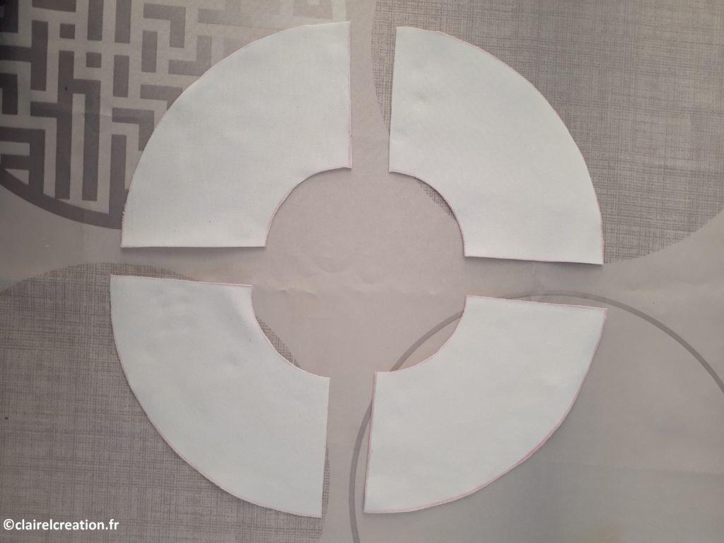 Découpe des pièces de tissus de la bouée (4 pièces tissus blanc)