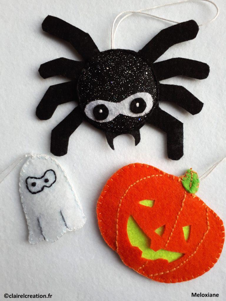 """Mes propres modèles pour Halloween, réalisés grace à la technique apprise avec le livre """"Faduleuse Feutrine"""""""
