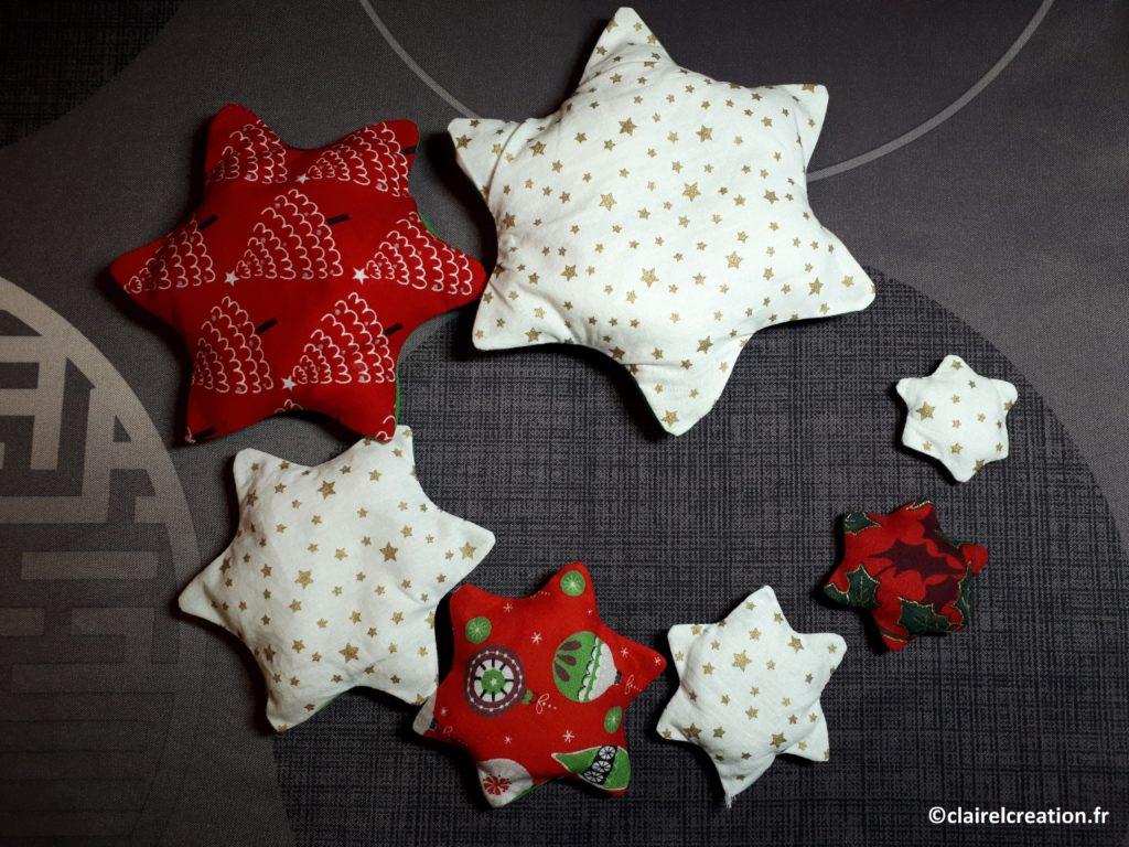 Remplissage des 7 étoiles avec de la fibre (polyester)