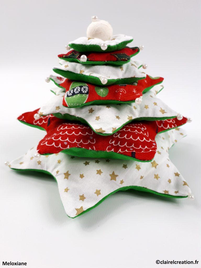 Coudre un joli sapin de Noël à 7 étoiles - Vue de côté