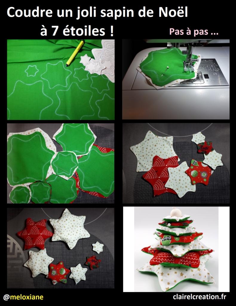 Comment coudre un joli sapin de Noël à 7 étoiles en 6 étapes !
