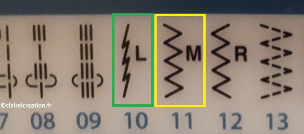 Point élastique (entouré en vert), ou point zigzag (entouré en jaune)
