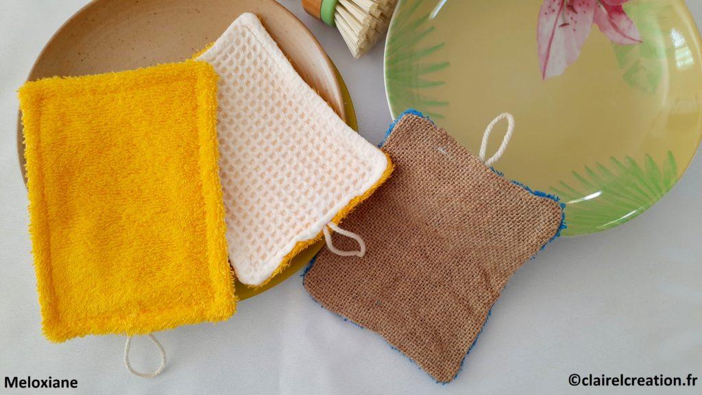 Eponge lavable zéro déchet ( éponge, éponge nid d'abeille - toile de jute )